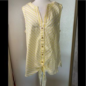 Maeve by anthropology stripe top 12 yellow white